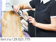Купить «hairdo in beauty salon. hairdresser making coiffure with curl to wonam», фото № 29021775, снято 28 марта 2017 г. (c) Дмитрий Калиновский / Фотобанк Лори