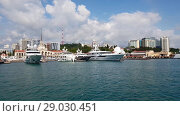 Купить «Sochi, Russia - June 12. 2018. Movement along yacht at the sea station», видеоролик № 29030451, снято 15 июня 2018 г. (c) Володина Ольга / Фотобанк Лори