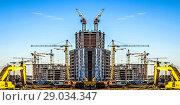 Купить «Строительство нового жилого городского района», фото № 29034347, снято 23 июля 2019 г. (c) Сергеев Валерий / Фотобанк Лори