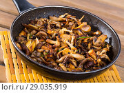 Купить «Frying pan with freshly fried mushrooms», фото № 29035919, снято 18 сентября 2018 г. (c) Яков Филимонов / Фотобанк Лори