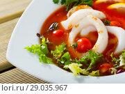 Купить «Tomato soup with squid and greens», фото № 29035967, снято 21 февраля 2020 г. (c) Яков Филимонов / Фотобанк Лори