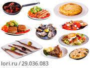Купить «Collage of dishes isolated», фото № 29036083, снято 25 октября 2017 г. (c) Яков Филимонов / Фотобанк Лори