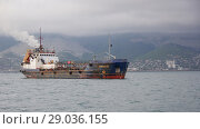 "Купить «Russia, Novorossiysk - May 9, 2014: Self-propelled tanker port ""Aginskoe"" in the Tsemes bay of Novorossiysk», фото № 29036155, снято 9 мая 2014 г. (c) Олег Хархан / Фотобанк Лори"