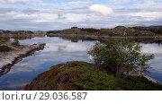 Купить «Norwegian fjord in sunny day, Averoy, Norway», видеоролик № 29036587, снято 1 сентября 2018 г. (c) Некрасов Андрей / Фотобанк Лори