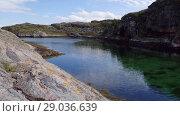 Купить «Norwegian fjord in sunny day, Averoy, Norway», видеоролик № 29036639, снято 1 сентября 2018 г. (c) Некрасов Андрей / Фотобанк Лори