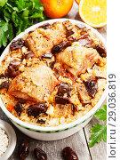 Купить «Chicken thigh baked with rice, eggplant and figs», фото № 29036819, снято 9 марта 2018 г. (c) Надежда Мишкова / Фотобанк Лори