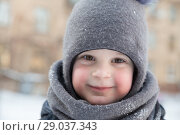 Купить «Child boy 4 years in winter outside in gray knitted woollen hat with pompon and scarf-snood. Close-up portrait, looking at camera», фото № 29037343, снято 21 марта 2018 г. (c) Юлия Бабкина / Фотобанк Лори