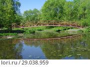 Купить «Деревянный пешеходный мост через Свибловские пруды в СВАО г. Москвы», фото № 29038959, снято 14 мая 2018 г. (c) Natalya Sidorova / Фотобанк Лори