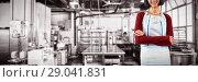 Купить «Composite image of smiling waitress standing with arms crossed against white background», фото № 29041831, снято 10 июля 2020 г. (c) Wavebreak Media / Фотобанк Лори