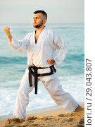Купить «Guy doing karate poses at sunset sea shore», фото № 29043807, снято 19 июля 2017 г. (c) Яков Филимонов / Фотобанк Лори