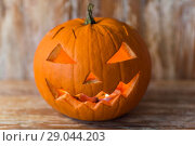 Купить «jack-o-lantern or carved halloween pumpkin», фото № 29044203, снято 18 сентября 2017 г. (c) Syda Productions / Фотобанк Лори