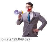 Купить «Funny businessman with loudspeaker isolated on white», фото № 29049627, снято 27 марта 2017 г. (c) Elnur / Фотобанк Лори