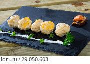 Купить «Fish balls from fillet of cod, Pollock, hake», фото № 29050603, снято 19 сентября 2018 г. (c) Яков Филимонов / Фотобанк Лори