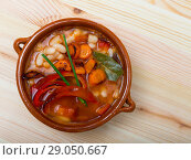 Купить «Top view of Bulgarian bean soup bob chorba», фото № 29050667, снято 15 декабря 2018 г. (c) Яков Филимонов / Фотобанк Лори