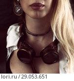 Купить «Steampunk girl portrait on black metal rivets», фото № 29053651, снято 13 апреля 2017 г. (c) katalinks / Фотобанк Лори