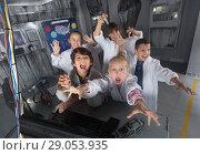 Купить «Children playing in bunker questroom», фото № 29053935, снято 21 октября 2017 г. (c) Яков Филимонов / Фотобанк Лори