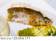 Купить «Fried rainbow trout with tartare sauce and wine», фото № 29054171, снято 10 июля 2018 г. (c) Яков Филимонов / Фотобанк Лори