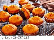 Купить «freshly baked sweet pumpkin muffins», фото № 29057223, снято 27 августа 2018 г. (c) Oksana Zh / Фотобанк Лори