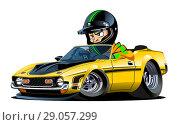 Купить «Cartoon retro sport car with driver isolated», иллюстрация № 29057299 (c) Александр Володин / Фотобанк Лори