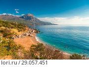 Купить «Laspi bay, Crimea seascape in autumn», фото № 29057451, снято 7 ноября 2017 г. (c) Константин Лабунский / Фотобанк Лори