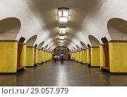 "Купить «Interior of Moscow metro station ""Rizhskaya"", Moscow, Russia», фото № 29057979, снято 27 августа 2018 г. (c) Наталья Волкова / Фотобанк Лори"