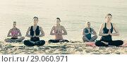 Купить «Glad women making yoga meditation in lotus pose», фото № 29060971, снято 22 мая 2017 г. (c) Яков Филимонов / Фотобанк Лори