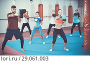 Купить «group of females and their trainer are boxing in gym», фото № 29061003, снято 8 октября 2017 г. (c) Яков Филимонов / Фотобанк Лори