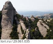 Купить «Aerial view of Montserrat, Spain», фото № 29061035, снято 22 апреля 2018 г. (c) Яков Филимонов / Фотобанк Лори