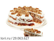 Купить «Delicious cake with apple and whipped cream filling», фото № 29063627, снято 22 ноября 2019 г. (c) Игорь Бородин / Фотобанк Лори