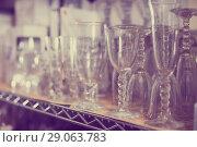 Купить «collection of crystal glasses for wine», фото № 29063783, снято 29 ноября 2017 г. (c) Яков Филимонов / Фотобанк Лори