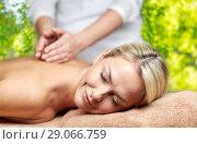 Купить «woman having back massage in spa», фото № 29066759, снято 18 декабря 2014 г. (c) Syda Productions / Фотобанк Лори