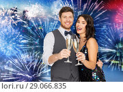 Купить «happy couple with champagne glasses at party», фото № 29066835, снято 15 декабря 2017 г. (c) Syda Productions / Фотобанк Лори