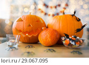 Купить «jack-o-lantern and halloween decorations at home», фото № 29067095, снято 15 сентября 2017 г. (c) Syda Productions / Фотобанк Лори