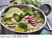 Купить «Chicken Pozole Verde in a metal casserole», фото № 29069919, снято 16 августа 2018 г. (c) Oksana Zh / Фотобанк Лори