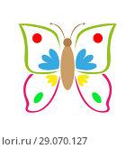 Multicolored colorful butterfly. Стоковая иллюстрация, иллюстратор Мастепанов Павел / Фотобанк Лори