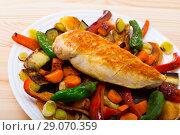 Купить «Baked vegetables with chicken breast», фото № 29070359, снято 15 октября 2018 г. (c) Яков Филимонов / Фотобанк Лори