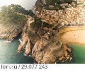 Купить «Aerial view of Tossa de Mar, Spain», фото № 29077243, снято 21 января 2018 г. (c) Яков Филимонов / Фотобанк Лори