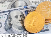Купить «Зоолотые монетки биткоин и долларовые купюры США. Криптовалюта. Bitcoin», фото № 29077843, снято 11 августа 2018 г. (c) Екатерина Овсянникова / Фотобанк Лори