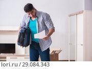 Купить «Unemployed man receiving foreclosure notice letter», фото № 29084343, снято 23 марта 2018 г. (c) Elnur / Фотобанк Лори
