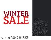 Купить «Winter Sale Text in red and illustrated pullover on dark grey rectangle», фото № 29088735, снято 26 сентября 2018 г. (c) Wavebreak Media / Фотобанк Лори