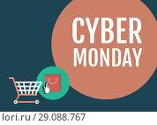 Купить «Cyber Monday Sale with illustrated elements», фото № 29088767, снято 27 января 2020 г. (c) Wavebreak Media / Фотобанк Лори