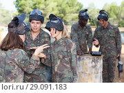 Купить «Female team discussing tactic of game», фото № 29091183, снято 11 августа 2018 г. (c) Яков Филимонов / Фотобанк Лори