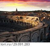 Купить «Arena of Nimes at sunset, ancient Roman amphitheate», фото № 29091283, снято 1 декабря 2017 г. (c) Яков Филимонов / Фотобанк Лори