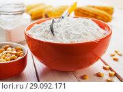 Купить «Кукурузный крахмал в оранжевой миске», фото № 29092171, снято 19 марта 2018 г. (c) Надежда Мишкова / Фотобанк Лори
