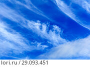 Background - blue day sky with white cirrus clouds. Стоковое фото, фотограф Евгений Харитонов / Фотобанк Лори