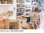 Купить «Photo of bags with dried fruits and nuts», фото № 29093591, снято 4 сентября 2017 г. (c) Яков Филимонов / Фотобанк Лори