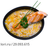 Купить «Tasty cream soup with salmon, served with greens in bowl at table», фото № 29093615, снято 14 декабря 2019 г. (c) Яков Филимонов / Фотобанк Лори