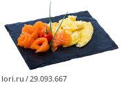 Купить «Traditional dish of Norwegian cuisine of omelet with salmon at plate», фото № 29093667, снято 19 сентября 2018 г. (c) Яков Филимонов / Фотобанк Лори