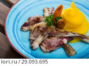 Купить «Dish of norwegian cuisine of lamb rib with mashed potato served at plate», фото № 29093695, снято 22 января 2019 г. (c) Яков Филимонов / Фотобанк Лори