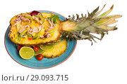 Купить «Salad with calamari, pineapple and lime», фото № 29093715, снято 17 октября 2018 г. (c) Яков Филимонов / Фотобанк Лори